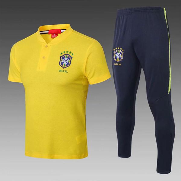 Brasil camisa de futebol 2018 Copa do mundo de manga curta camisas POLO fatos de treino brasil 18 19 Ronaldo D.COSTA DAVID LUIZ calças compridas fato de treino