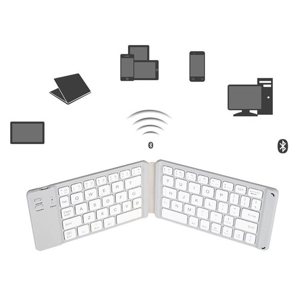 Bluetooth Keyboard Double Folding Aluminum Alloy for Tablet Mobile Phone PC SL@88