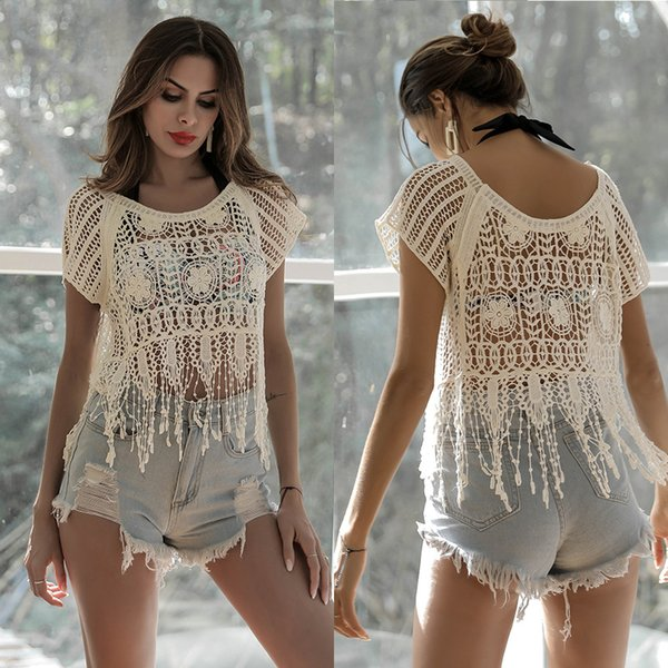 white hippie crochet top Summer festival Boho cover up blouse floral top pullover beach woman clothes crochet cover up lace