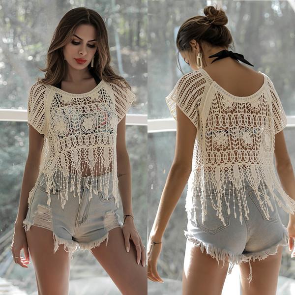 Top de crochet blanco hippie Festival de verano blusa con capucha blusa con cuello alto playa mujer ropa crochet encubrir encaje