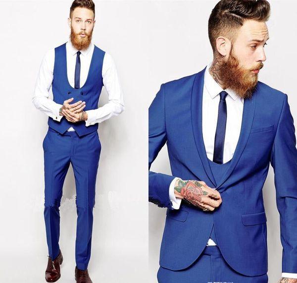 Amazing 2019 White/Black/Navy/Blue/Grey Coat Pant Designs Men Suit Formal Skinny Wedding Blazer Prom Gentle Groom Custom Jacket 3 Piece