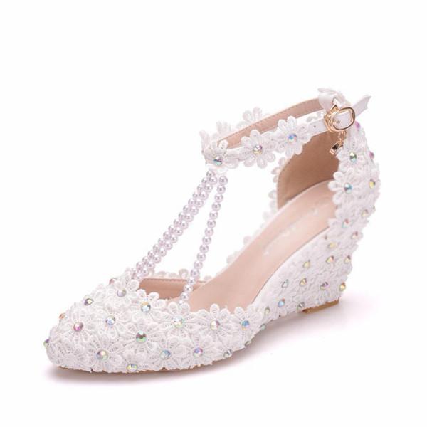 String Bead Lace Wedges Platform Party Wedding Shoes Women Rhinestone Flower High Heels Ladies Ankle Strap