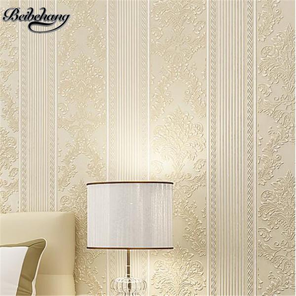 beibehang 3D Wallpaper affolla carta da parati a righe europea da letto Soggiorno TV sfondo sfondo papier peint