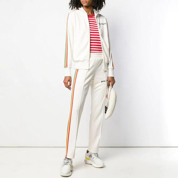 Homens de luxo Calças ModaRainbow Calças de Fita para Homens Mulheres Calças Compridas Calças de Marca Casual com Marca de Impressão de Carta
