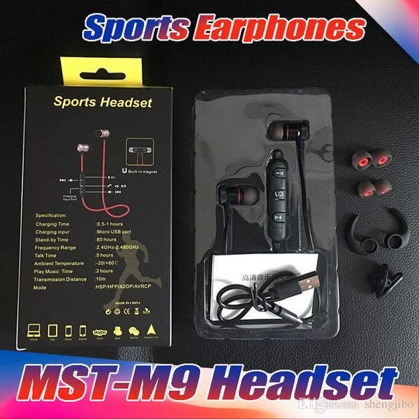 10PCS/Lot High Quality Magnet Metal Sports wireless earphones Bluetooth 4.1 Waterproof Sweat-proof Running GYM with Reality box
