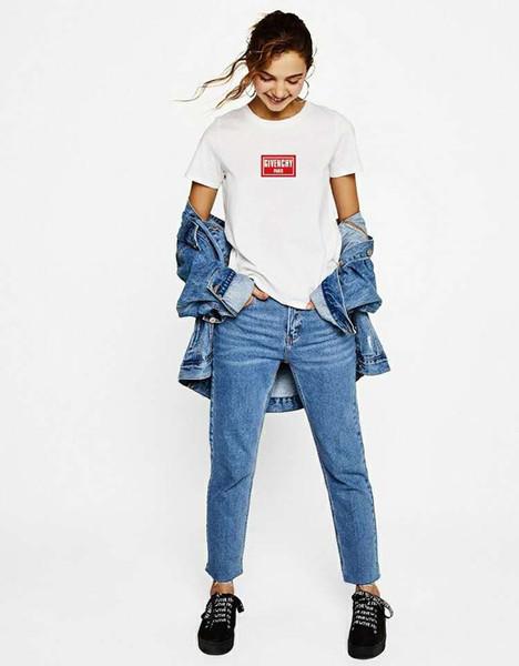 Letra de la camiseta de la manera del verano de las mujeres Impreso manga corta camiseta y ocio de verano cuello redondo respirable puro algodón camiseta