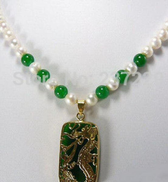 necklace Free shipping ++++ Wholesale price FREE SHIPPING^^^^Stunning White Pearl Green Jade 18KGP Dragon Pendant Necklace