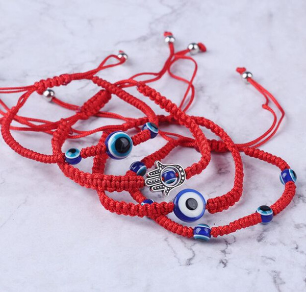 Free ship 20pcs/lot Lucky Red String Thread Rope Bracelet Black Turkish Evil Eye Charm Little Girls Kids Children Braided