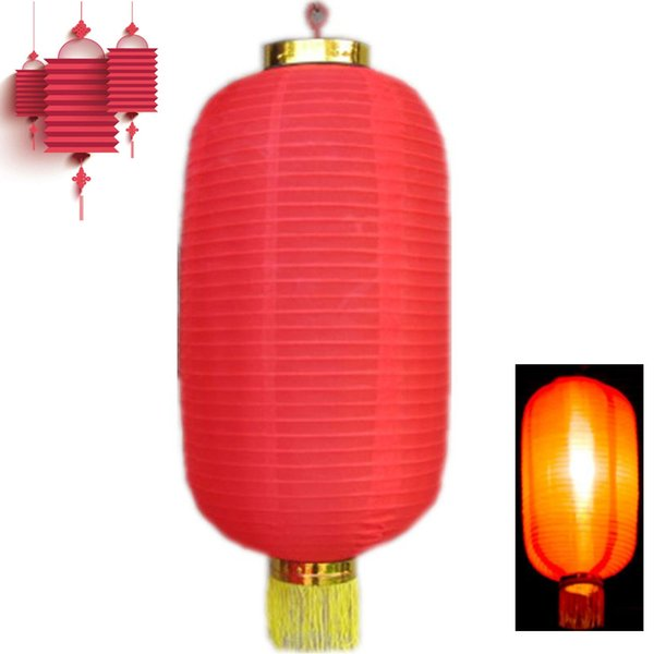 Red Long Chinese Lantern New Year Cylinder Chinese Lantern Festival Decoration Adorn Chinese Friends Hotel Festival Decoration D19010902