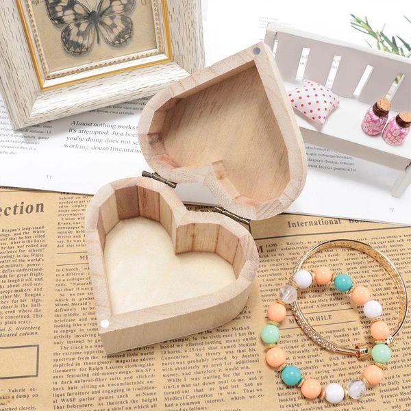 40pcs Heart Shape Wood Box Jewelry Storage Box Wedding Gift Earrings Ring Desk Wooden Organizer Box free shipping