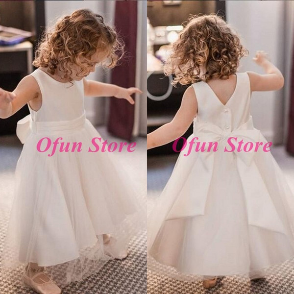 Simple Satin First Holy Communion Dresses Jewel Neck Covered Button Tulle Sleeveless Flower Girls Dresses For Wedding With Bow