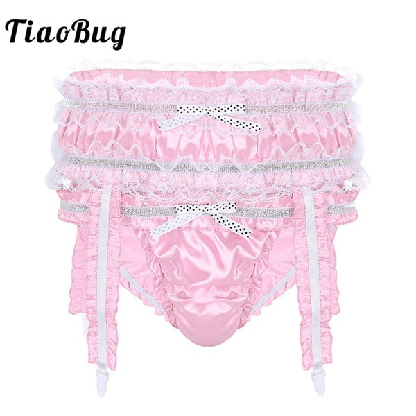 TiaoBug Men Soft Shiny Satin Sissy Panties Lingerie Ruffle Frilly Low Rise Stretchy Briefs with Garters Sexy Male Gay Underwear