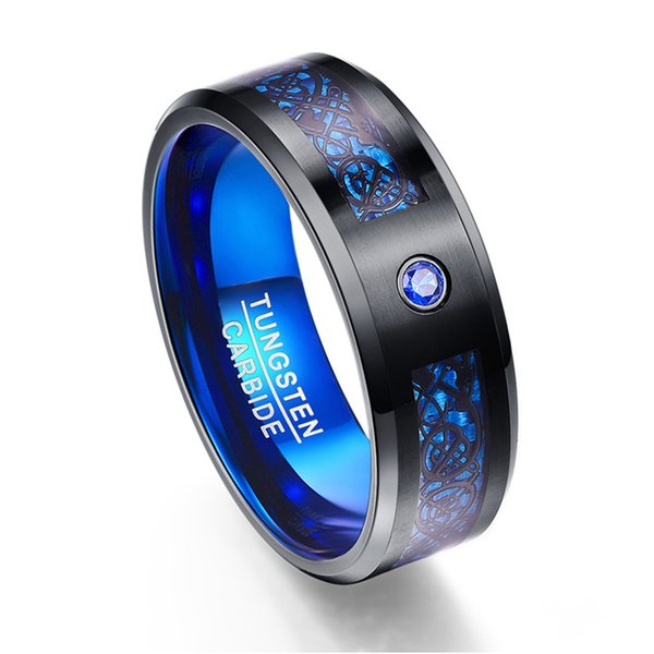 Carbon Fiber Scrub Blue Zircon Men Rings 100% Tungsten Carbide Anillos para hombres Black Dragon