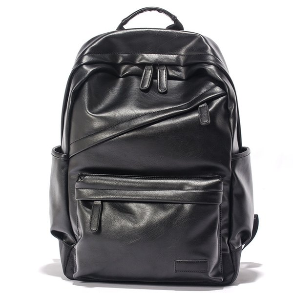 Nova escola termo mochila sólida mochila de couro PU preto de alta qualidade saco de ombro duplo saco de marca designer para os alunos