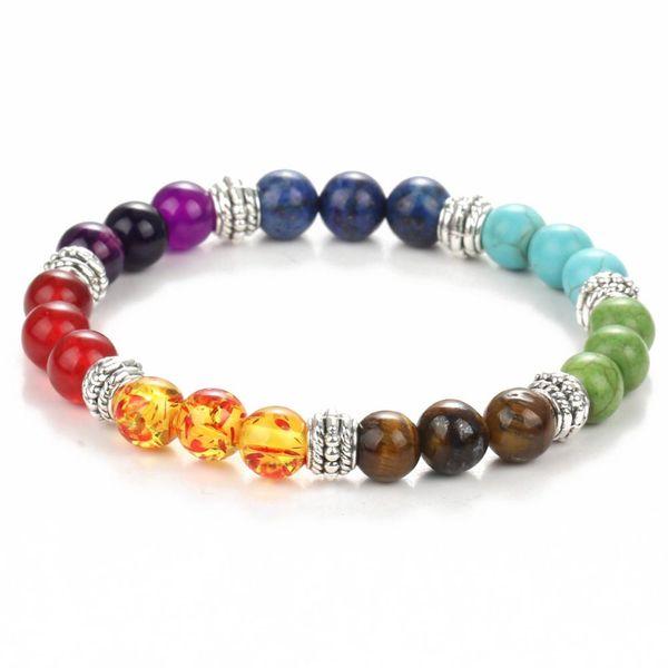 2017 natural semi-precious stones round bead seven colors chakras gem bracelet health reiki prayer stone bracelet free shipping