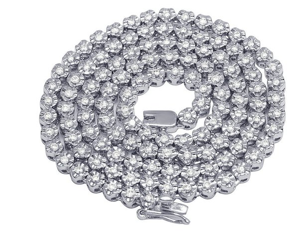 "Mens 10K White Gold Tennis 1 Row Fanook Choker Diamond Chain Necklace 3.5mm 18"""