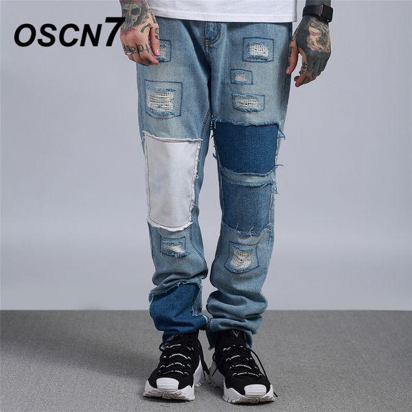 OSCN7 Streetwear Hip Hop Hole Jeans Pants Men Brand High Street 2019 New Fashion Trend Elastic Band Denim Mens Pants 882
