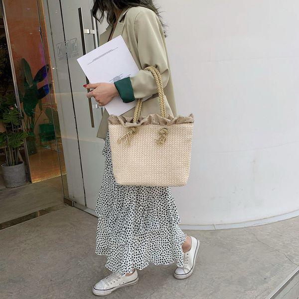 Women Hand Made Straw Bag Bohemian Women's Shoulder Bags Fashion Summer Beach Bag Ms Shopping Handbag Casual Travel Big Totes