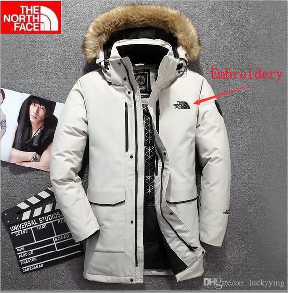 2019 The North Qualität Stickerei Marke Winter-Männer Daunenjacke Jacke Freizeit Marke Daunenjacke Warmer Ski Männer langer Mantel #QY