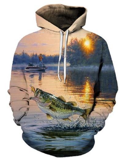 Date Fashion Fishman 3D Print Hoodies Mode Poisson Bateau Paysage Vêtements Femmes / Hommes Mode 3D Hoodiest Casual Pulls Tops K488
