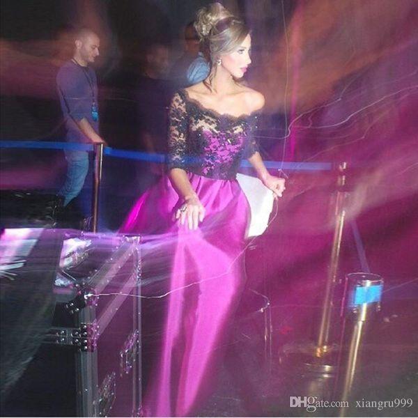 Maniche lunghe viola Prom Dresses Mezze maniche Off spalla Applique Pizzo Abito da sera Sexy Vedere attraverso le donne Abiti da cerimonia formale