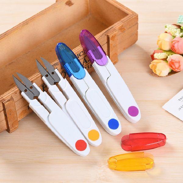 bordado plástico tijera cruz de color 4 colores transparentes creativas herramientas de uso doméstico de acero inoxidable con el envío libre de la tapa