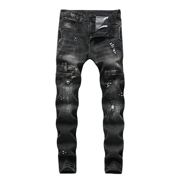 2019 Fashion High Quality Mens Jeans Cotton Black Slim Fit Male Motorcycle Pants Men Vintage Zipper Denim Trousers