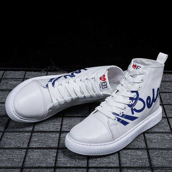 12019 High Help Canvas Shoe School Youth Skate Shoes Male Motion Leisure Time Street Shoes Letter