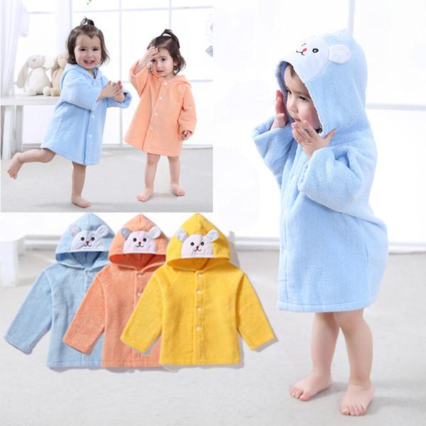 6Pcs/lot Baby Kids Cartoon Animal Rabbit Bath Robes Toddler Boys Girls Hooded Bath Towel Cotton Untwisted Yarn Children Bathrobe Nightgown