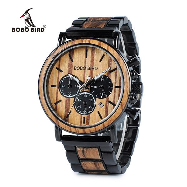 Bobo Bird Wooden Watch Men Erkek Kol Saati Orologi eleganti di lusso Cronografo Orologi al quarzo militare in scatola regalo in legno C19041601