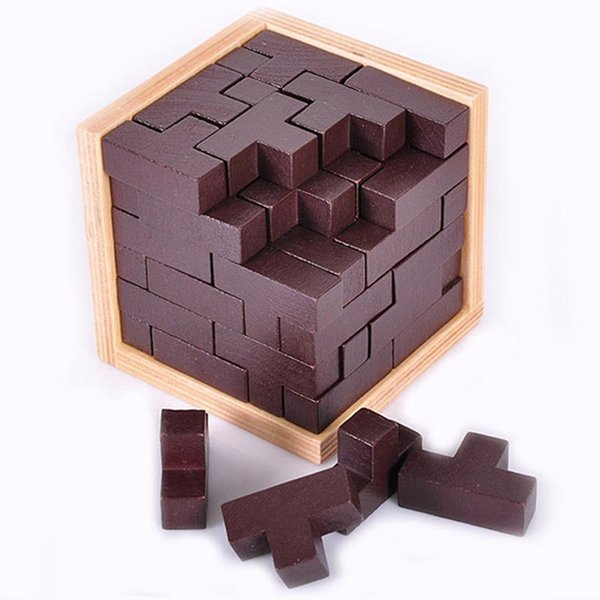 best selling 3D Puzzle Wooden Cube Toy , Russia Ming Luban Interlocking Wooden Game Toy to improve IQ Brain for Kid Educational Toy