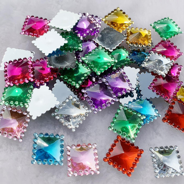 Wholesale 480pcs 12mm Crystal Acrylic Rhinestones Flatback Square Gems Strass Stone For Clothes Dress Craft -A54
