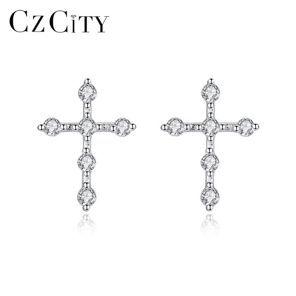 CZCITY New Sparkling Tiny Zircon Cross Stud Earrings for Women Simple Earrings 925 Sterling Silver Jewelry Dating Wearing Bijoux