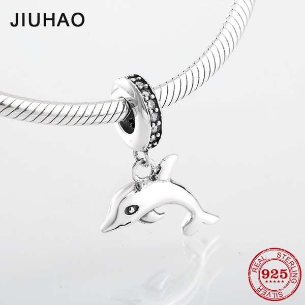 100% 925 silver dolphin charms Pendants Animal beads with Crystal CZ Fit authentic pandora bracelets necklaces jewelry making