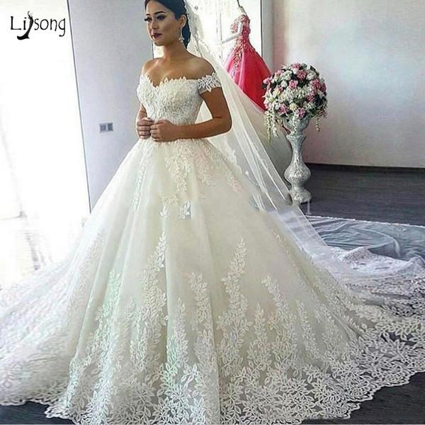 Discount Dubai Vintage Unique Lave Wedding Dresses Plus Size Bridal Gowns  Sweetheart Off Shoulder Elegant Wedding Dress Vestidos De Novia Alternative  ...