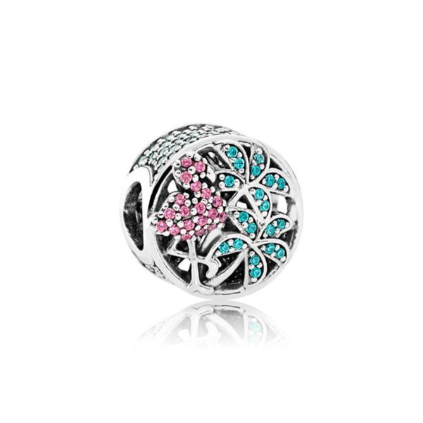Cristaux vert clair multicolores CZ Diamond Charm Box Original pour Bracelet Pandora Making Tropical Flamingo Charms
