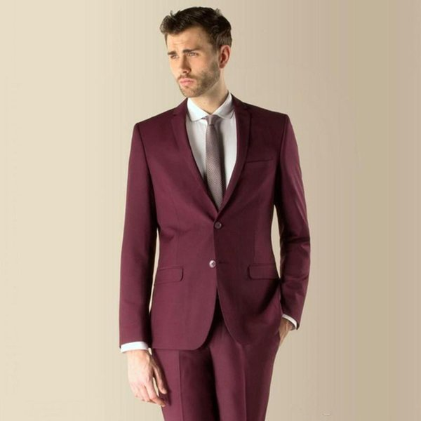 Simple Design Burgundy Men's Suits Two Pieces (Blazer+Pant) Wedding Bridegroom Wear With Notched Lapel Two Buttons Business Men Wear