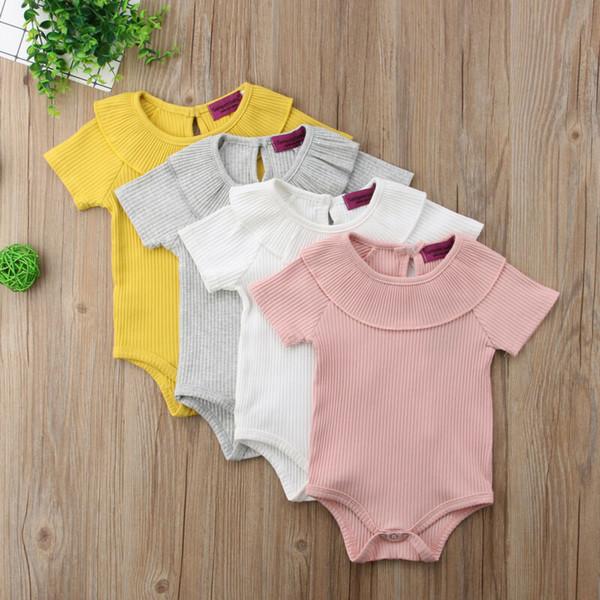 4 colori infantili del ragazzo della neonata del pagliaccetto della tuta della tuta Rib Outfit estive