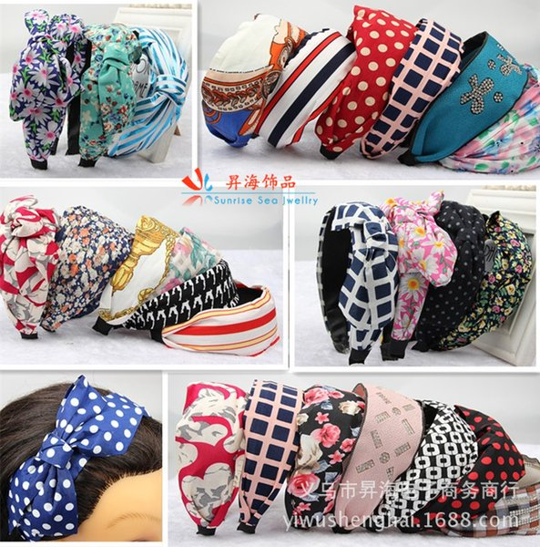 Spring and Summer Cloth Art Printing Wide Bow Bow Hairband Headwear