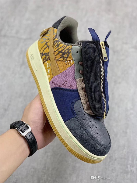 Hottest Authentic Travis Scott x Air 1Force 1 Cactus Baixo Jack Multi Color Muted Bronze Fossil Men Running Shoes CN2405-900 com caixa 19nike