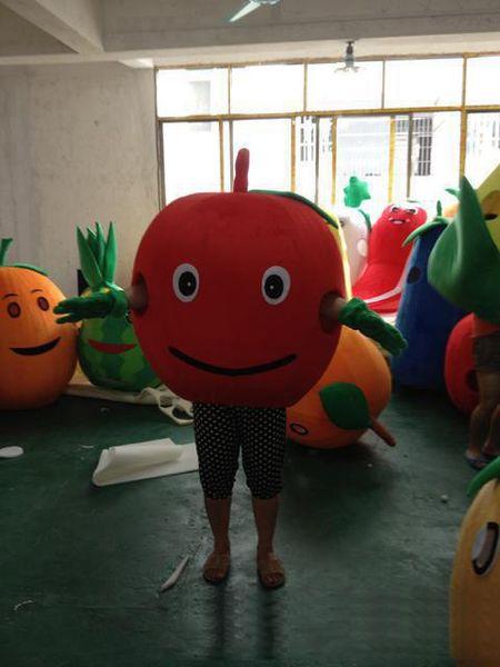 2019 hot sale Cartoon apple Mascot Costume Cute red apple Halloween Chirastmas Party Fancy Dress Costumes