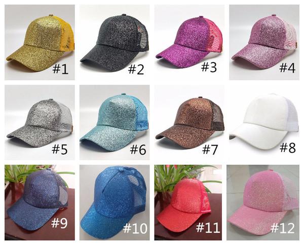 top popular Women Sunshine Hat Ponytail Baseball Hat Girls Softball Hats Back Hole Glitter Mesh Girls Cap Hat Breathable Adjustable Snapbacks 14 Colors 2021