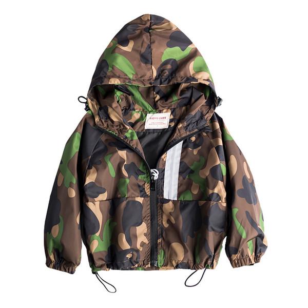 Boys Jacket Coat Kids Spring Autumn Outdoors Hooded Windbreaker Child Windproof Warm Camouflage Jacket Boys Sport Coat