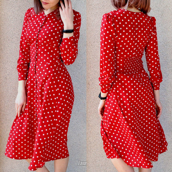 e3ce4eb508238 2019 Flectit Vintage 80s Dress French Style Polka Dot Button Up Midi Dress  Short Puff Sleeve High Waisted Retro Holiday Dress Women Q190521 From ...