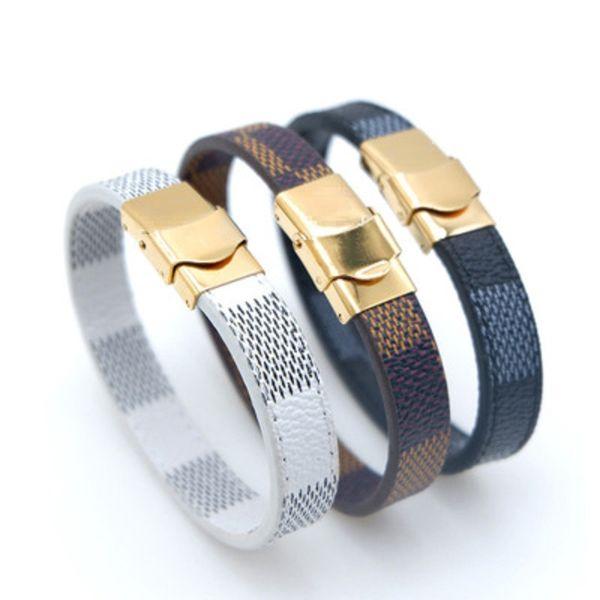 Marque Classique Treillis En Cuir Bracelets pour Hommes Femmes 316L En Acier Blanc Marron Noir En Cuir Bracelet Bijoux De Noël Mère Fête Des Pères Cadeau