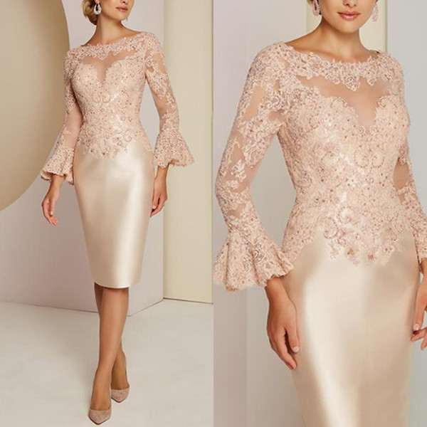 Classic Lace Mother of the Bride Dresses Long Sleeve Beads Wedding Guest Dress Custom Women Wear Evening Gowns Plus Size