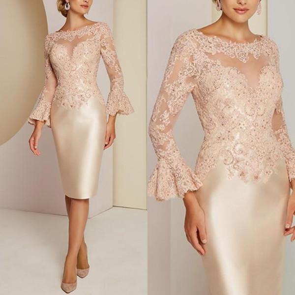Klassische Spitze Mutter der Braut Kleider Langarm Perlen Hochzeitsgast Kleid Benutzerdefinierte Frauen Tragen Abendkleider Plus Größe