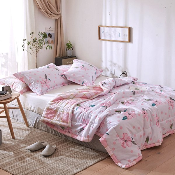 Floral Printed Bedding Set Summer Comforter Sets Cotton Bed Linens Quilt Pillowcase Twin Full Queen Size Soft Pink Bedding Sets