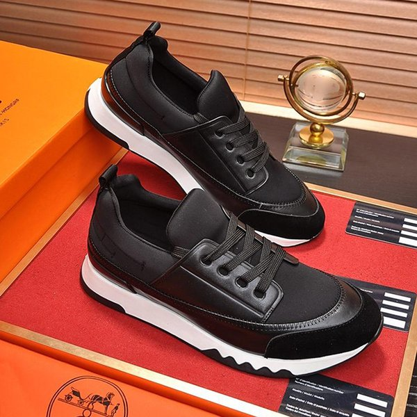 Sapatos Casuais Mens Sapatilhas com Caixa de Sapatilhas Respirável Zapatos de hombre Sapatos Masculinos Moda Couro Sneaker Estádio Em Lona Técnica