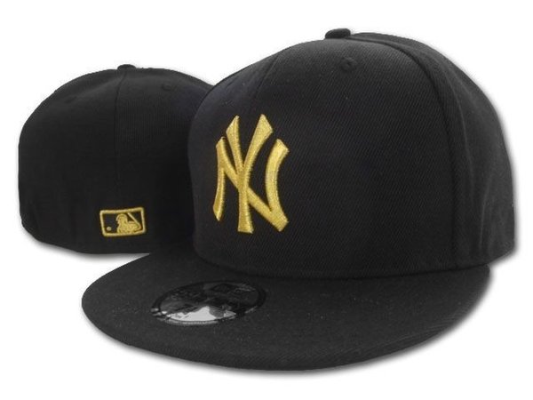 2018 Men's Black Color new york fitted hat flat Brim embroiered team gold ny logo fans baseball Hat top quality NY full closed Chapeu C